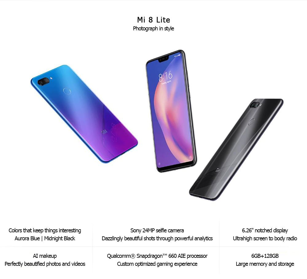 Xiaomi Mi 8 Lite 4g Phablet Android 8 1 6 26 Inch Snapdragon 660 Octa Core 2 2ghz 6gb Ram 128gb Rom Dual Rear Cameras Blue Xiaomi Smartphone Phablet