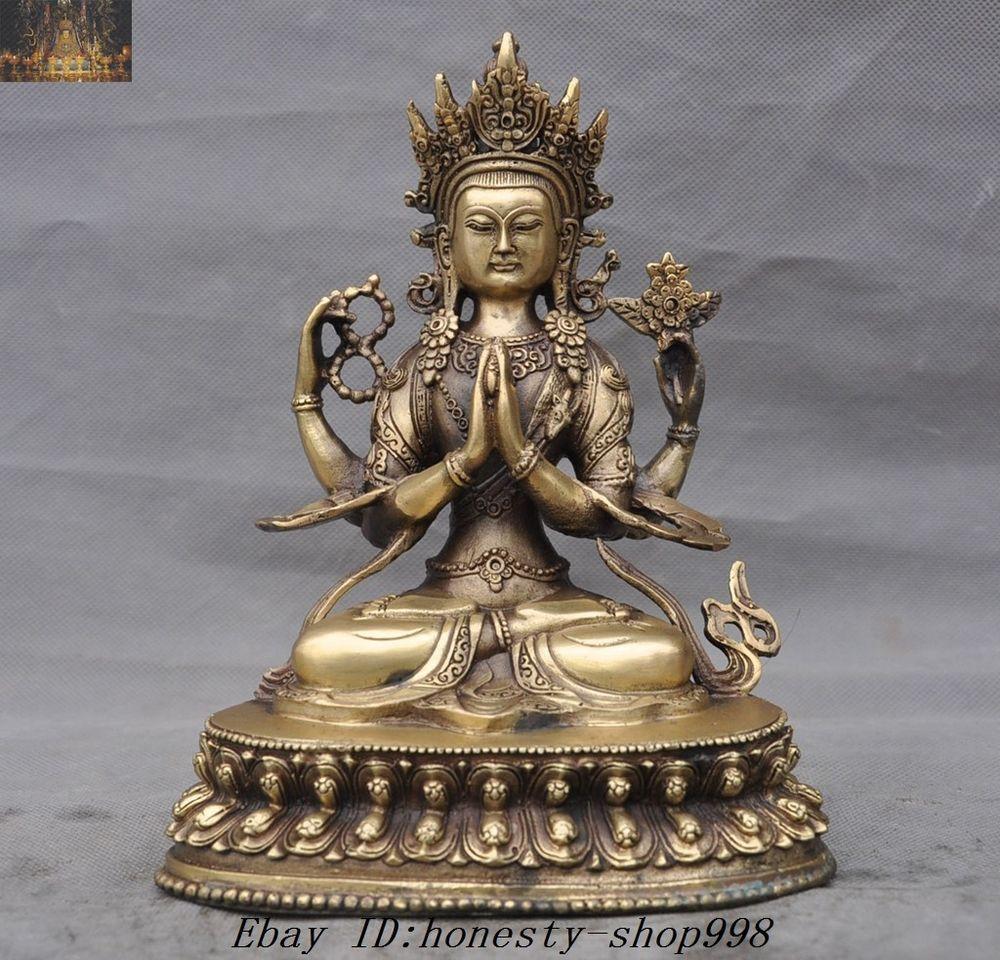 Tibet Buddhism Gilt Bronze 4 Arms Chenrezig Tara Goddess Guanyin Buddha Statue Tibet Antiques