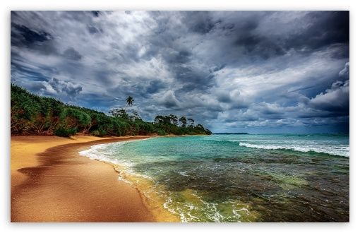 Download Tropical Coast With Beautiful Beach HD Wallpaper
