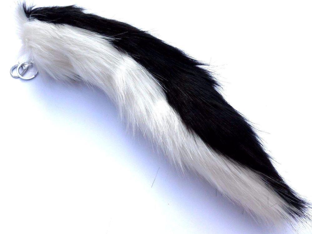 New Long Fox Fur Skunk Tail Faux Keychain Purse Rings Black White
