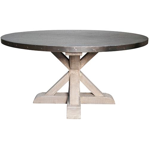Noir Vintage Zinc Round Table With X Base Gtab428zn Bellacor Dining Table Round Dining Table Zinc Table Zinc top round dining table
