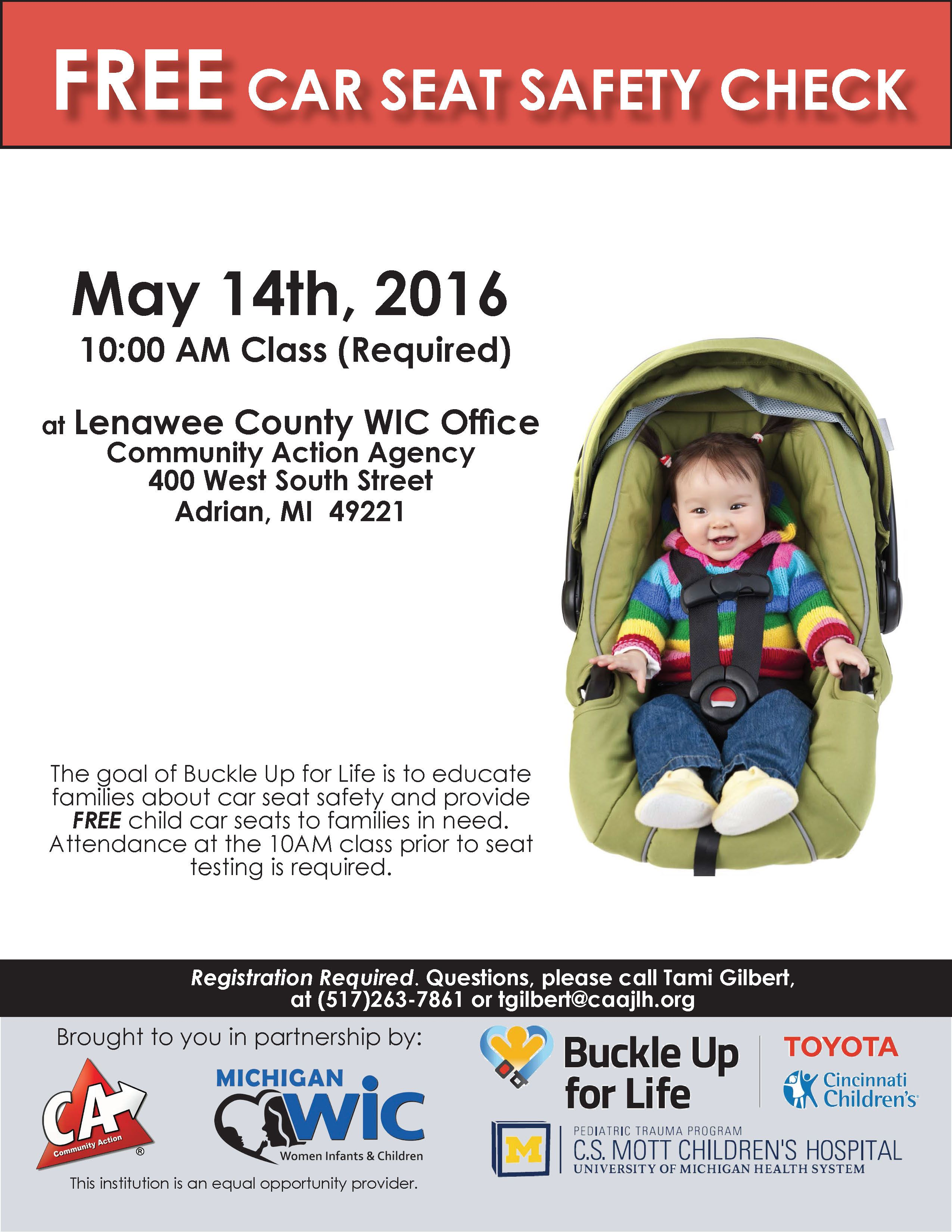 """Lenawee County WIC Office to Host FREE Car Seat Safety"