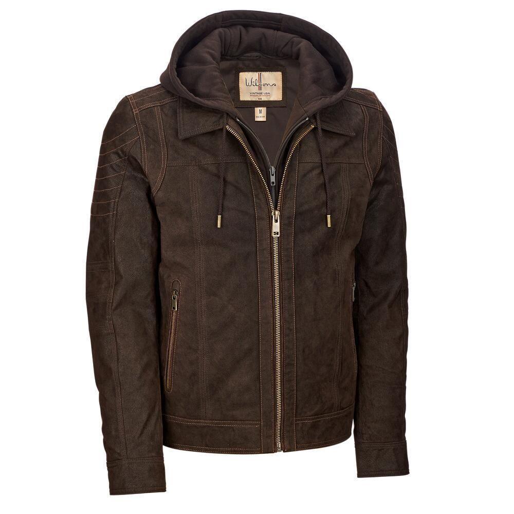 Wilsons Leather Mens Vintage Hooded Genuine Leather Jacket Genuine Leather Jackets Leather Jacket With Hood Leather Jacket [ 1000 x 1000 Pixel ]