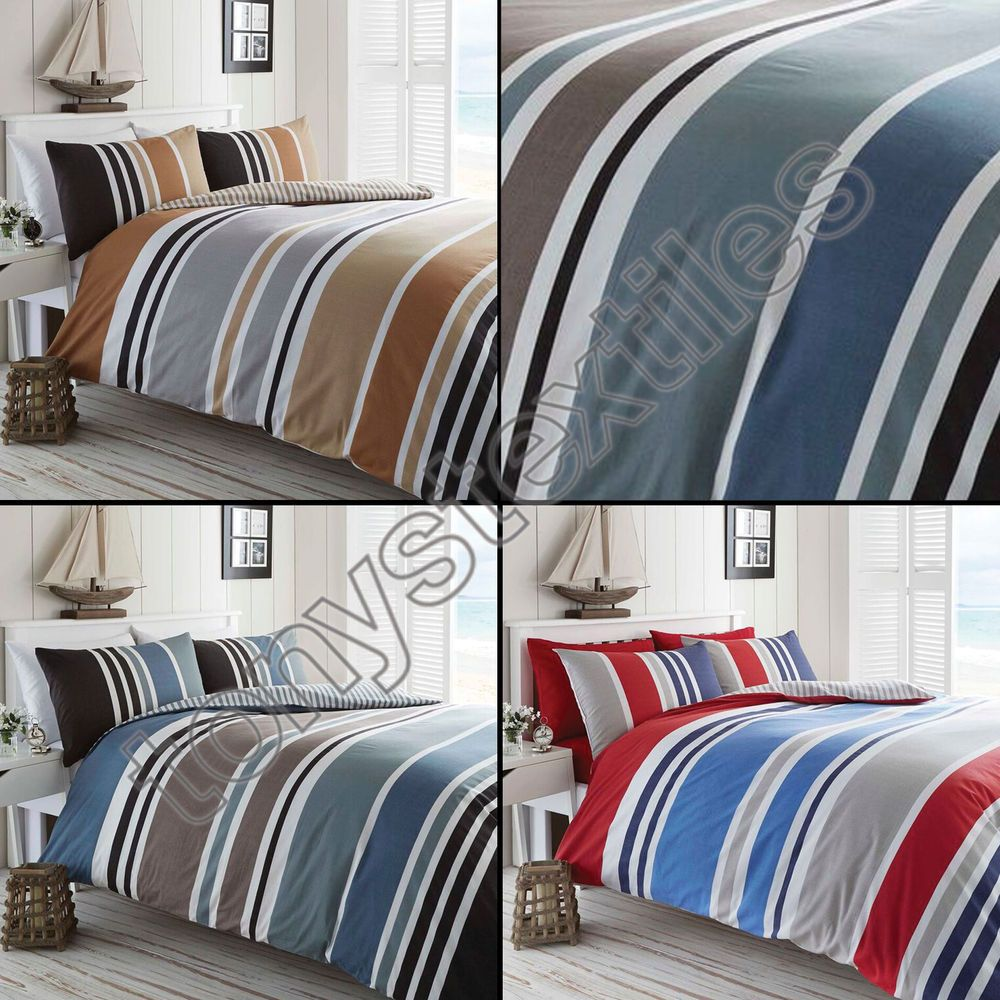 Black and grey bedding - Details About Stripe Reversible Print Quilt Duvet Cover Bedding Set Blue Black Grey Cream Red