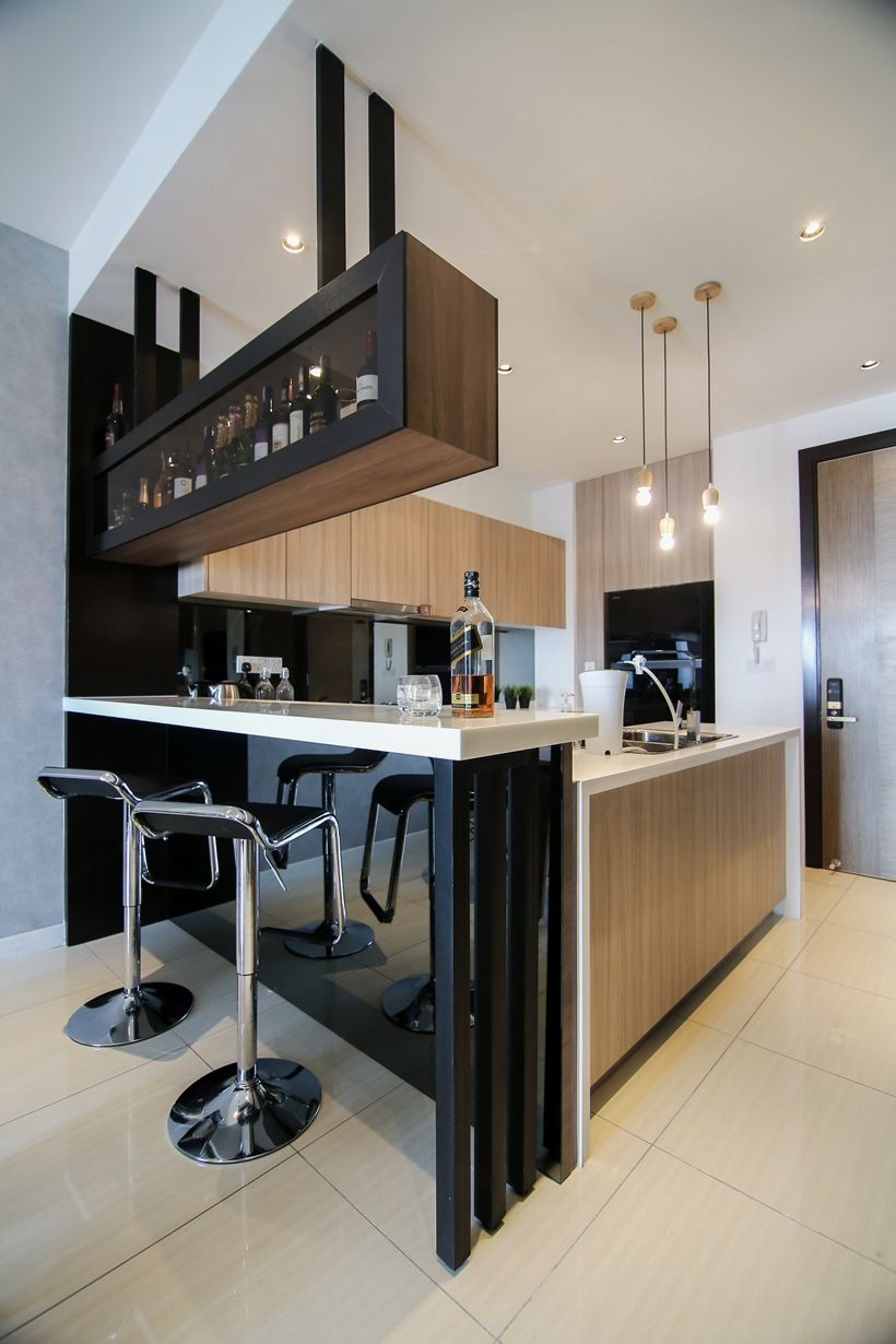 Modern kitchen design with integrated bar counter for a small condo home sleek urban elements - Bar counter designs small space minimalist ...