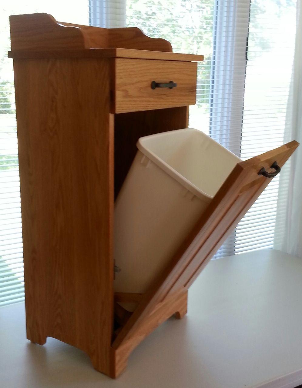 Amish made wooden Slimline tiltout Trash bin