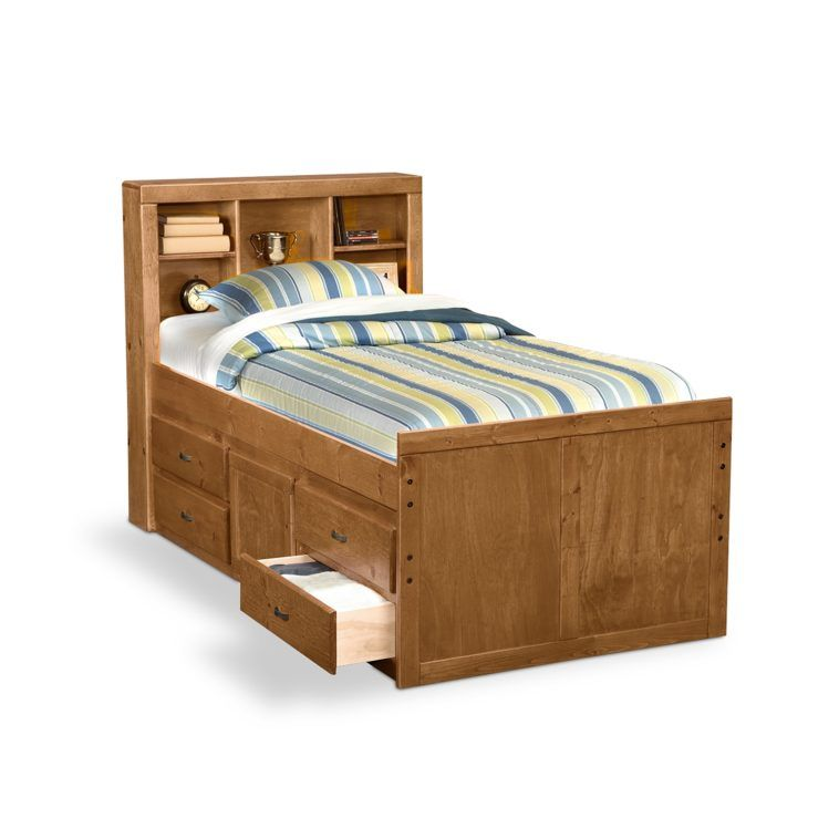 Twin Kids Bed Design With Storage Drawers Underneath And Bookcase Headboard