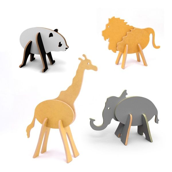 Topozoo™ is the first collection designed and made in the USA from formaldehyde-free recycled wood and child-safe color stains.   Each animal is made of 5 wooden pieces and can be mixed and matched to create over 1200 custom animals. Set also includes color-and-cut-out Topo-layers to add wings.
