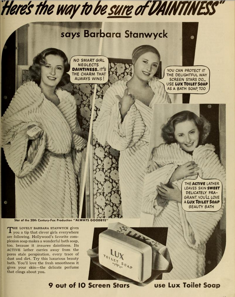 Barbara Stanwyck in a lovely ad for Lux soap.