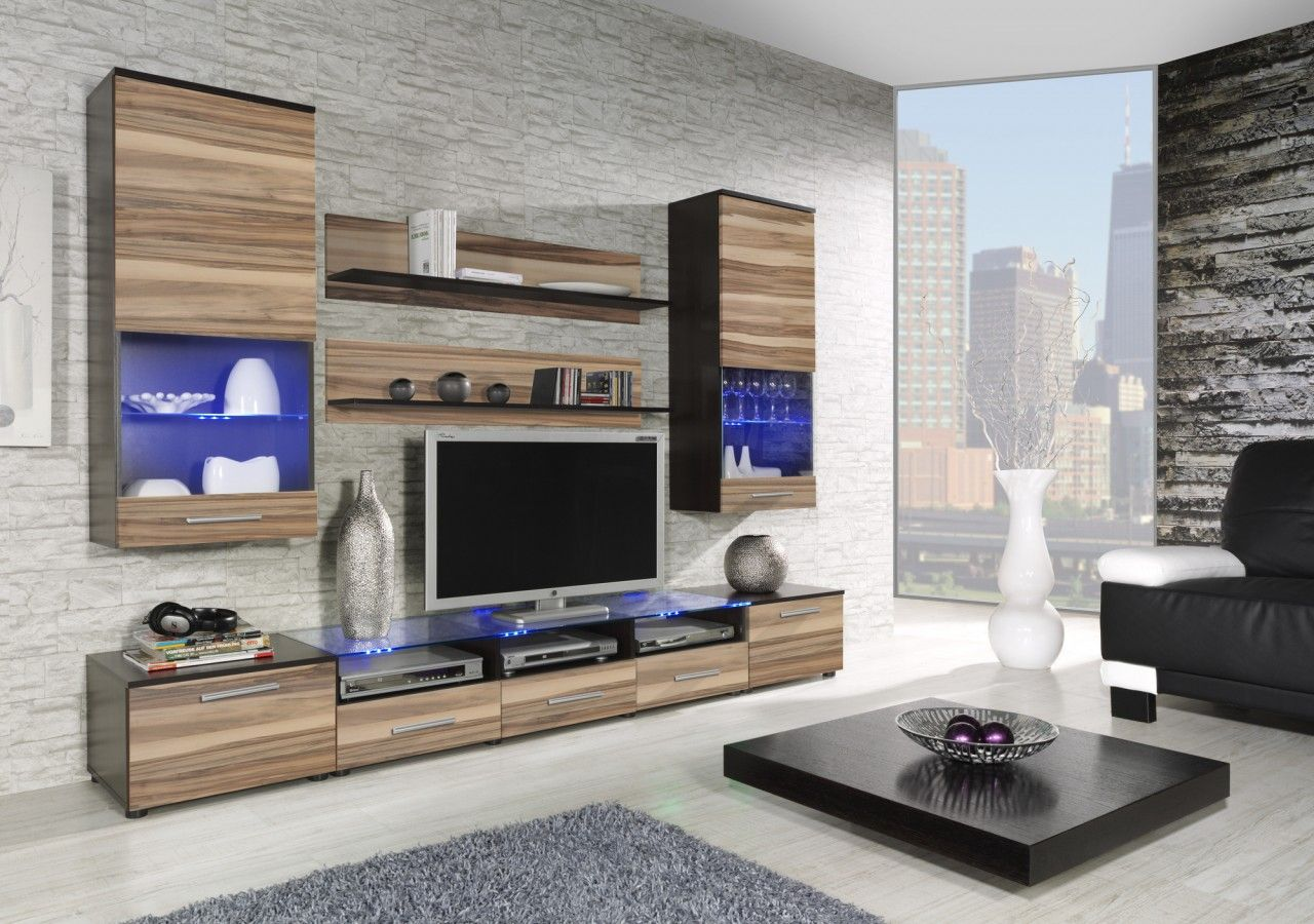 Chicago 4 Modern Wall Units Living Room Wall Units And Modern Wall # Meuble Tv Moderne Led
