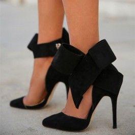 Black Suedette Side Bow High Heel Sandals/Shoes dN63QSilJF