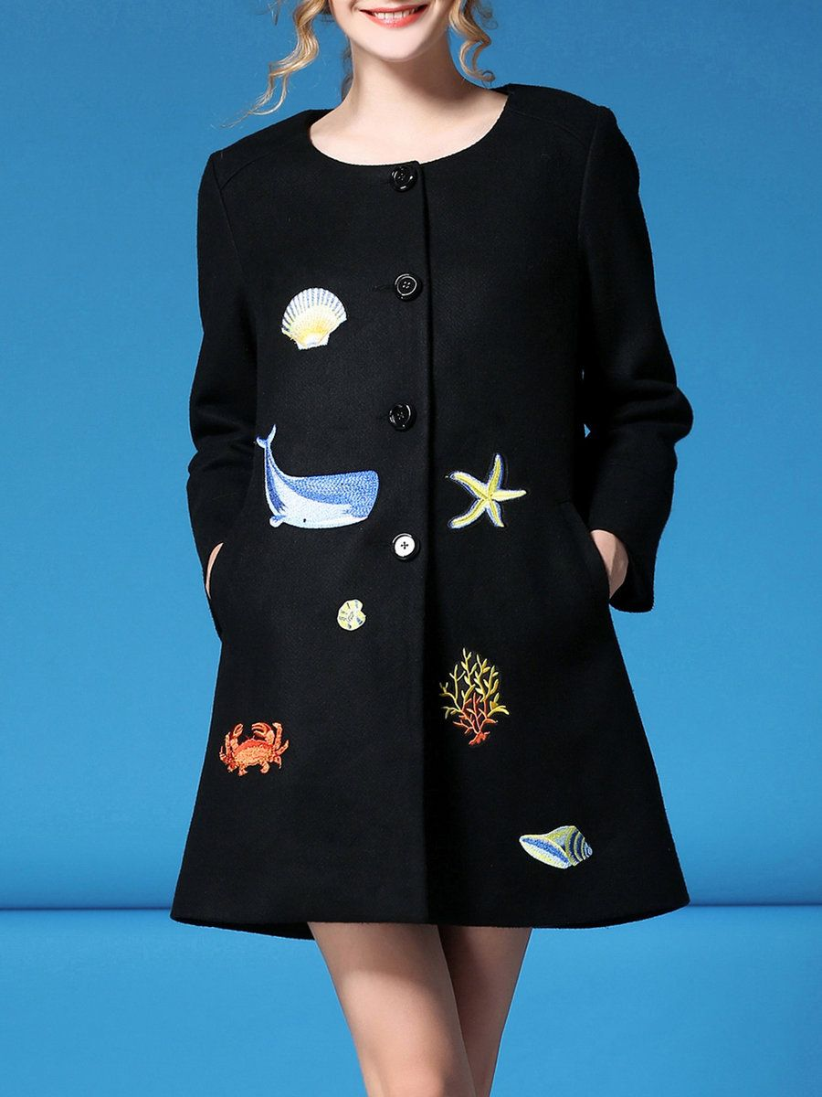 Black appliqued casual crew neck coat fans designers and fashion