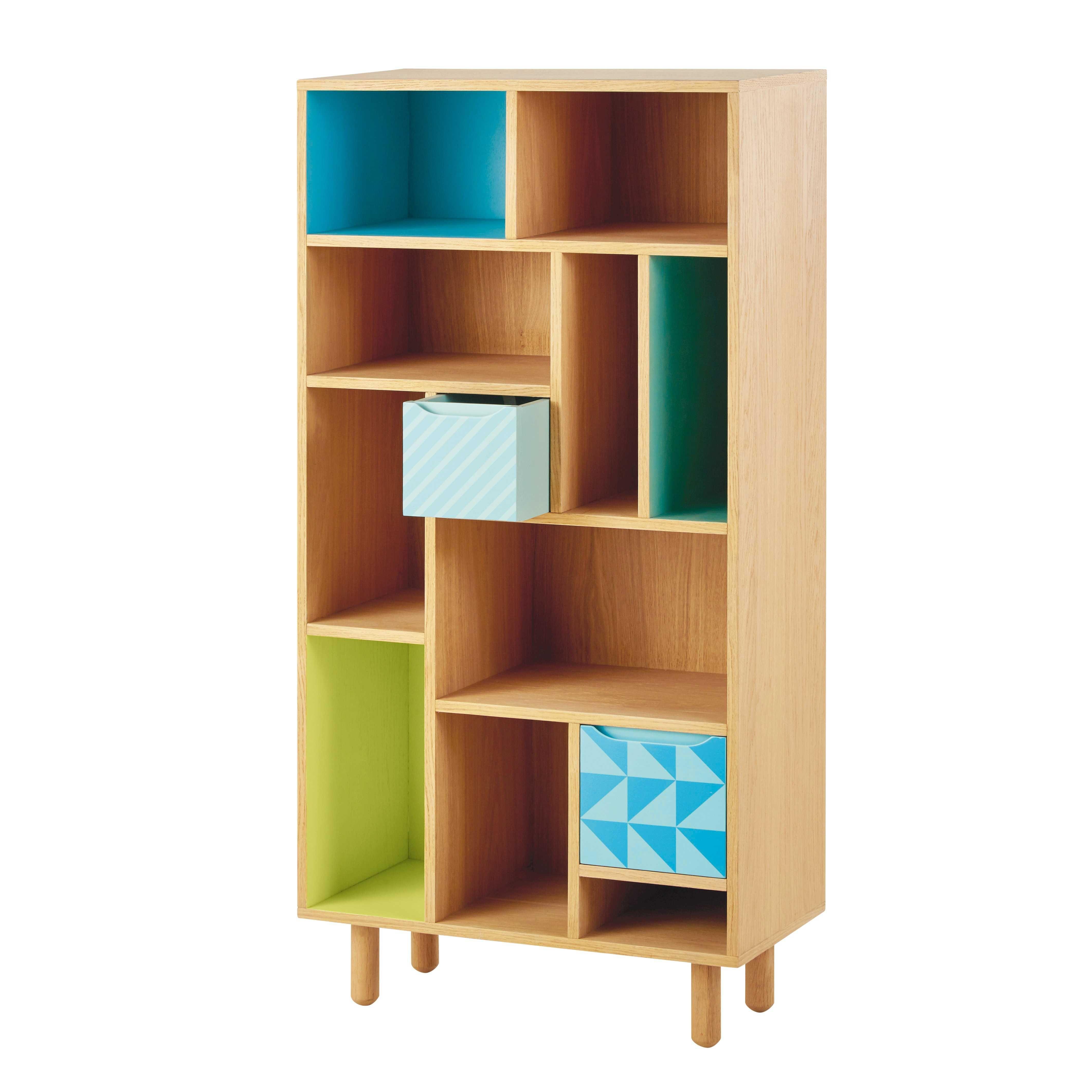 Biblioth Que Enfant En Bois Bleu Vert L 65 Cm Leo Maisons Du  # Bibliotheque Maison Du Monde