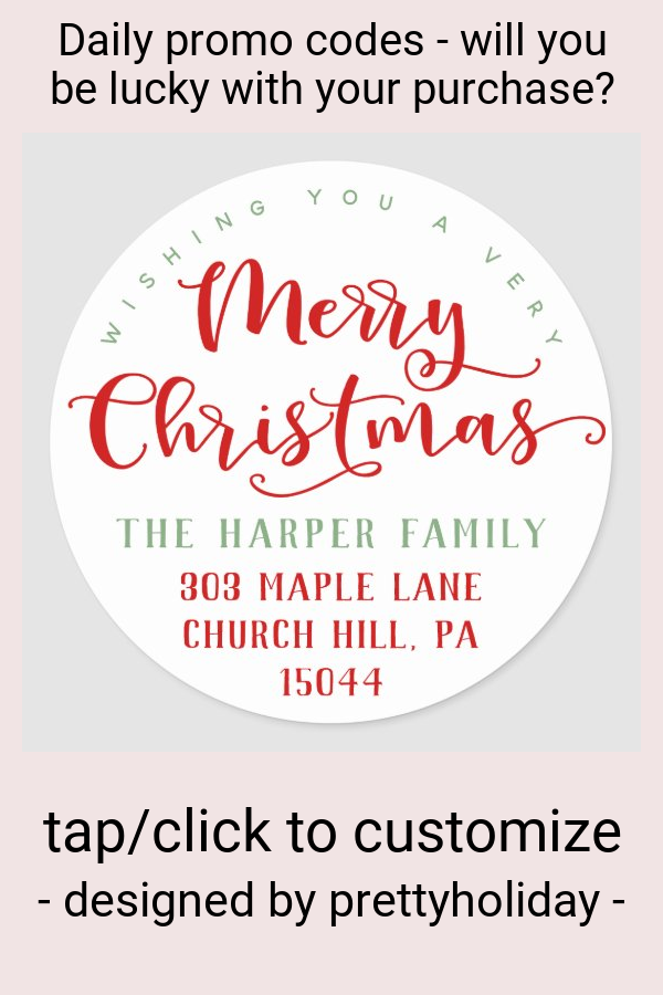 Merry Christmas Return Address Classic Round Sticker - tap/click to personalize and buy #ClassicRoundSticker #merry #christmas #stickers #return #address