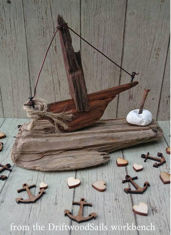 holzboot treibholz boot holz skulptur nautische von driftwoodsails basteln pinterest. Black Bedroom Furniture Sets. Home Design Ideas