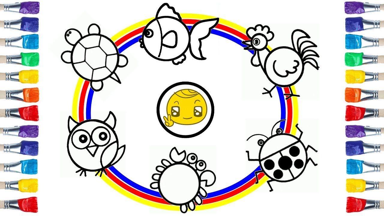 رسومات للاطفال جميلة وسهلة من خلال الدائرة Draw Cute Animals From Circle Animal Drawings Border Design Learn To Draw
