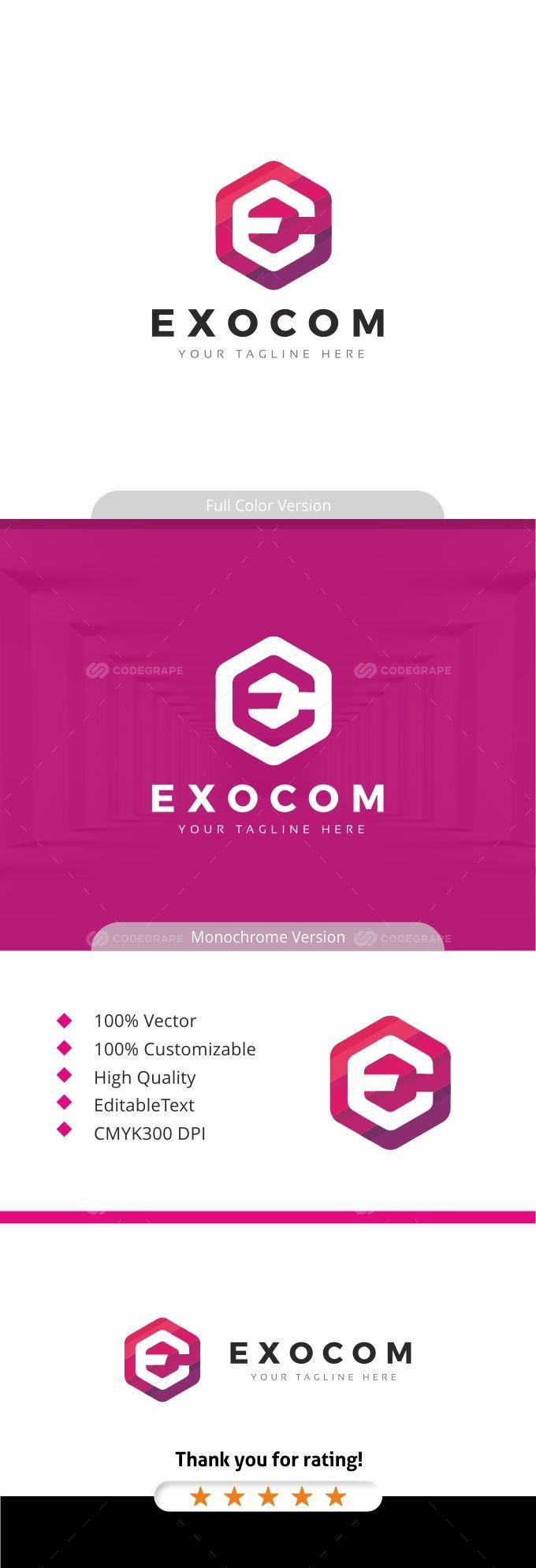 Exocom - Hexagon E Letter Logo | Pinterest | Logos, Letter logo and ...
