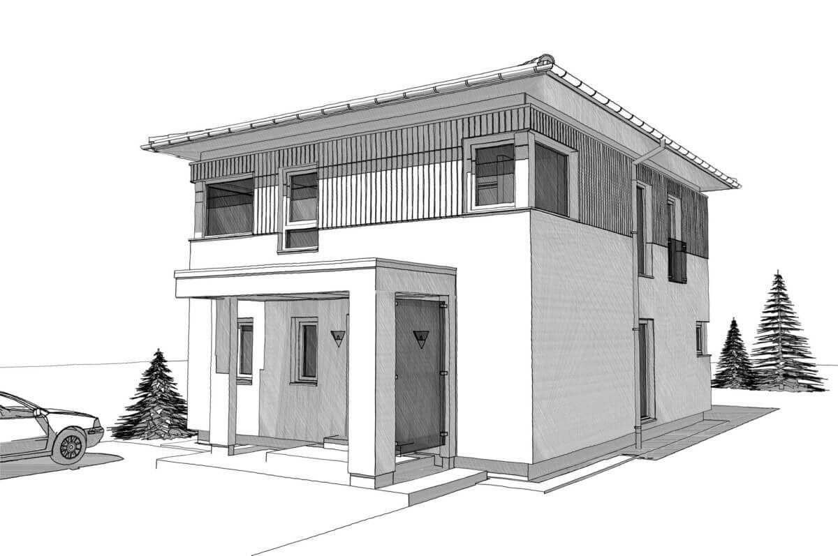 Landhaus stadtvilla modern mit walmdach architektur holz for Einfamilienhaus bauen ideen
