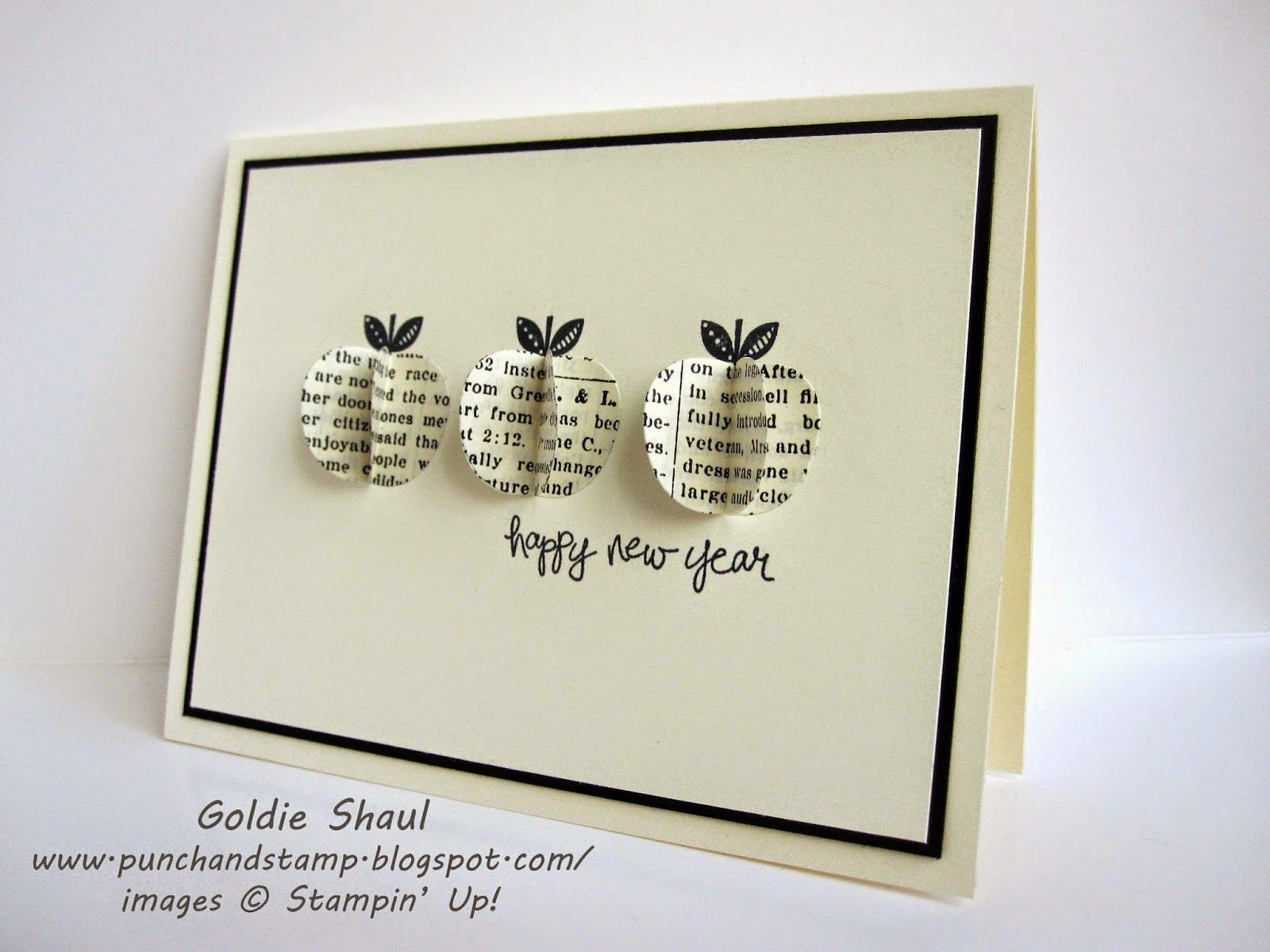 Punch And Stamp With Goldie Vintage Style Jewish New Year Card