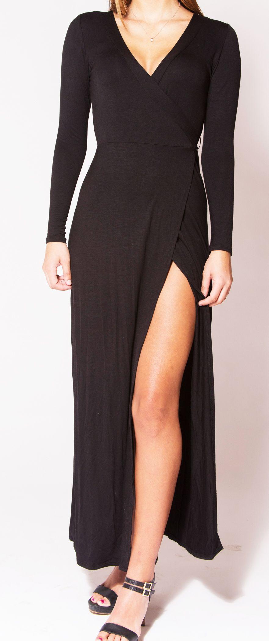 Black maxi dress with slit cutest dresses pinterest dresses