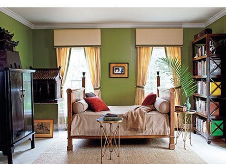 The Library In Amy And Todd Haseu0027s Hamptons Retreat Is Painted In Benjamin  Mooreu0027s Terrapin Green, And The Color Is Reiterated In The Valance And  Curtain ...