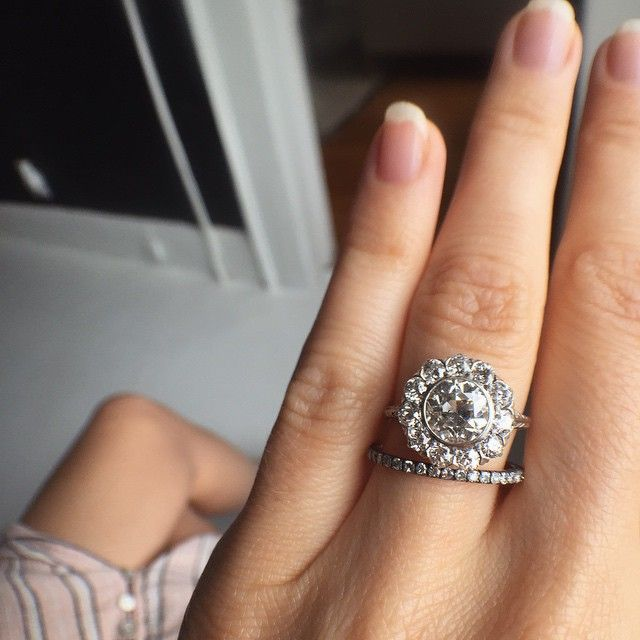 Erstwhile On Instagram What Do You Think About Wearing A Cluster Ring With A Wedding Band Our Byers Wedding Rings Engagement Edwardian Ring Fantasy Jewelry
