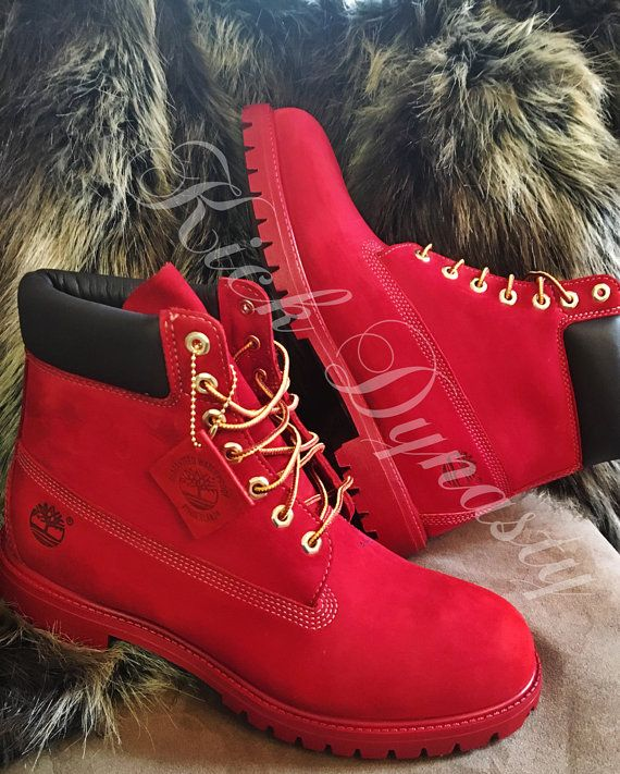 f808fc9161fc All Red Custom Dyed Timberland Boots Suede by KickDynasty on Etsy ...