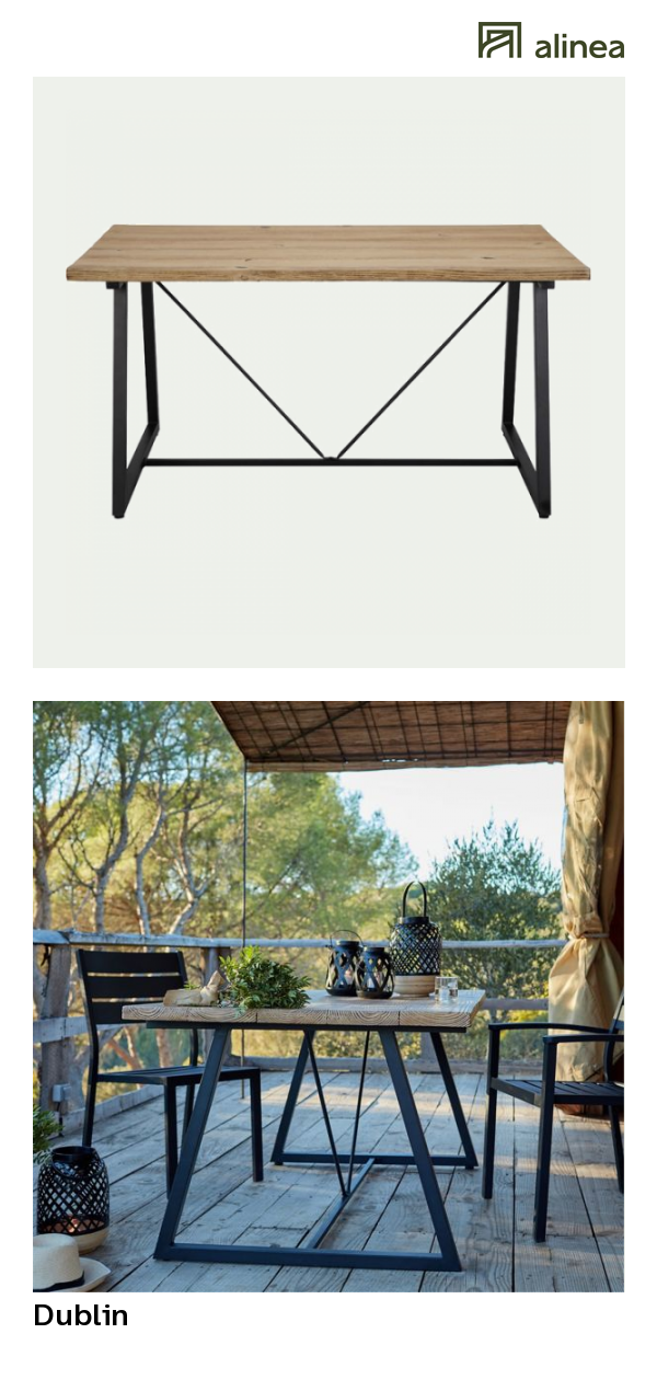 alinea : dublin table de jardin en résine et fer (4 à 6 places ...