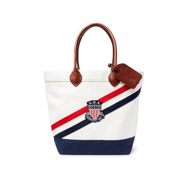 Polo Ralph Lauren Team Usa Canvas Tote ($198) ? liked on Polyvore featuring  men\u0027s fashion, men\u0027s bags, mens tote bag, mens canvas bag, mens beach bag  and ...