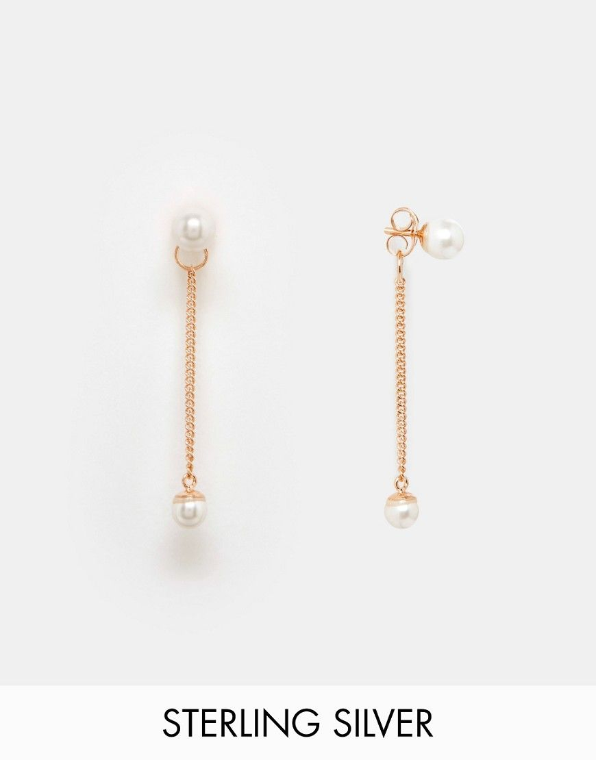 329e4c3a4 ASOS+Rose+Gold+Plated+Sterling+Silver+Faux+Pearl+Stud+and+Chain+Drop+ Earrings