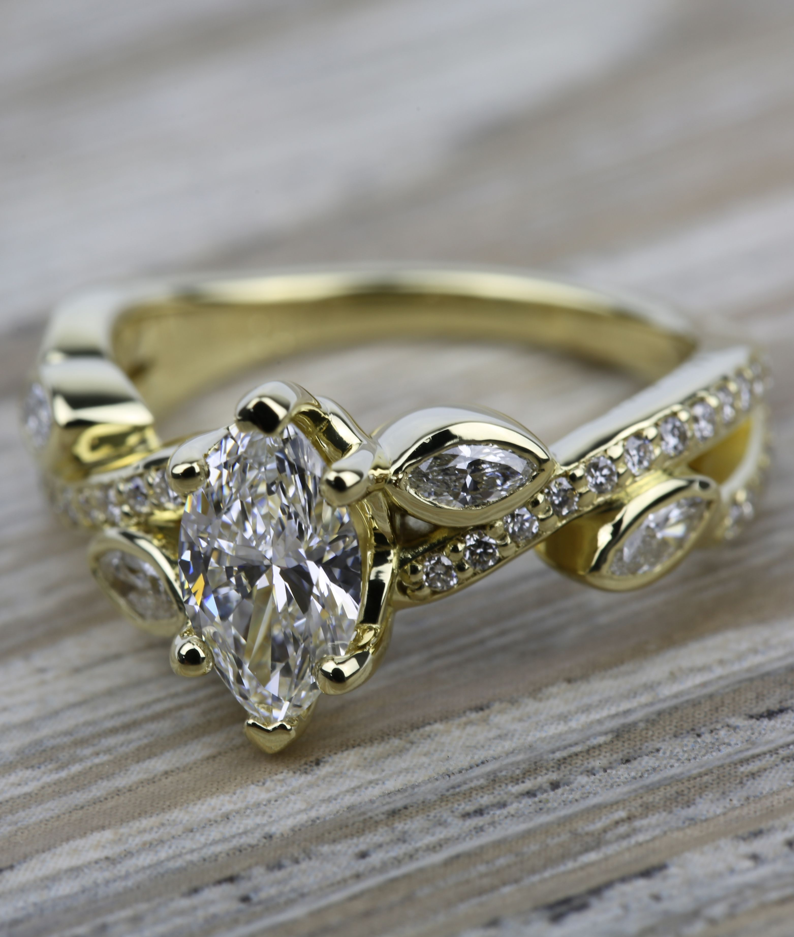893836e4ba3 Twisted Petal Diamond Engagement Ring in Yellow Gold | Wedding ...