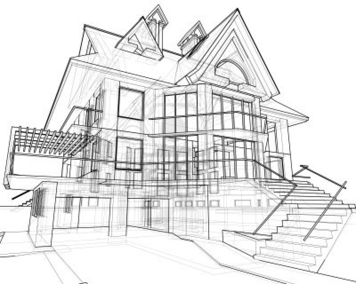 Architecture Houses Drawings house: technical draw stock photo | landscape architecture