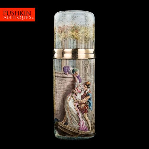 French Silver Painted Glass Bottle Art