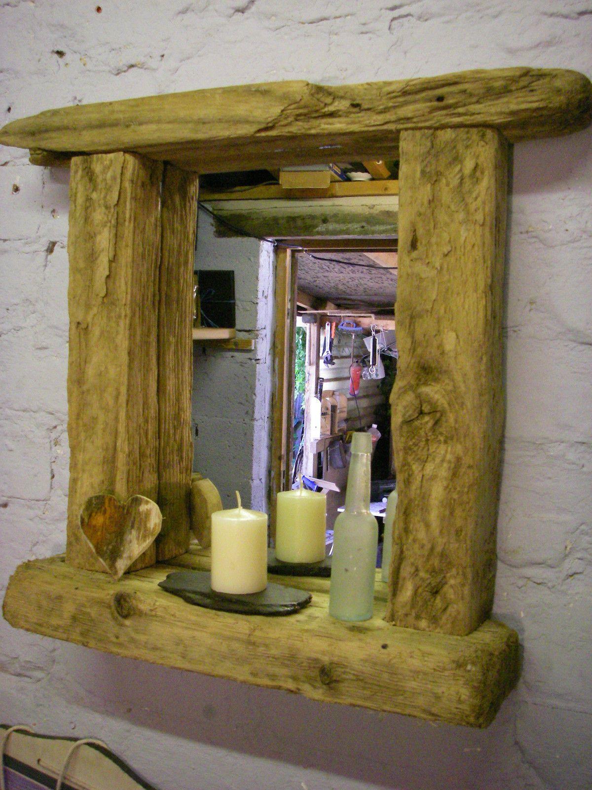 rustique gros recycl driftwood miroir avec tag re pour jardin id e cadeau ebay miroir et bois. Black Bedroom Furniture Sets. Home Design Ideas