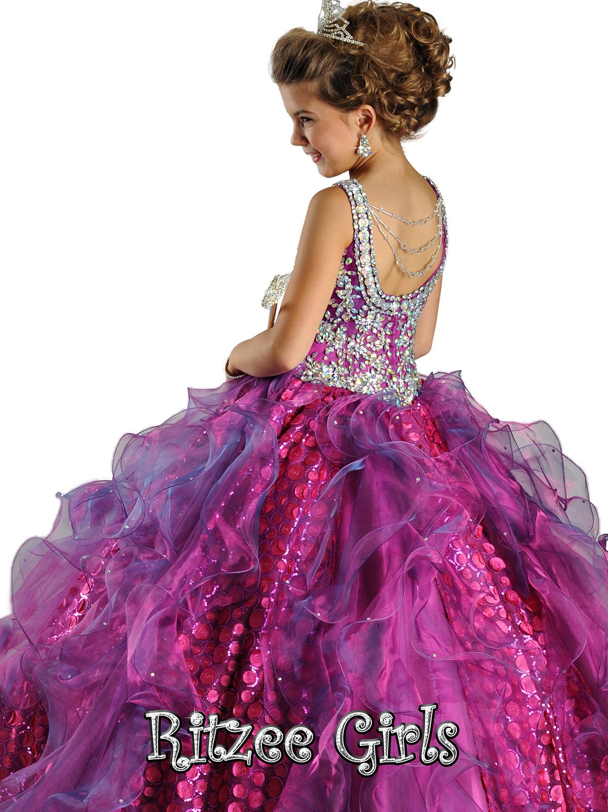 Iridescent Sabrina Neckline Ritzee Girls Pageant Ball Gown 6567 ...