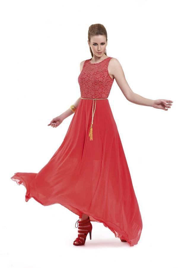 c027c84d1c3 Φόρεμα διαφάνεια μακρύ σε ριχτή γραμή με δαντέλα στο μπούστο και μονόχρωμο  εσωτερικό