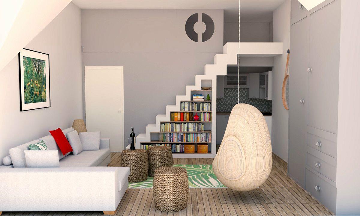 Studio Apartment Loft Bed 3D Visuals: SketchUp + SU Podium