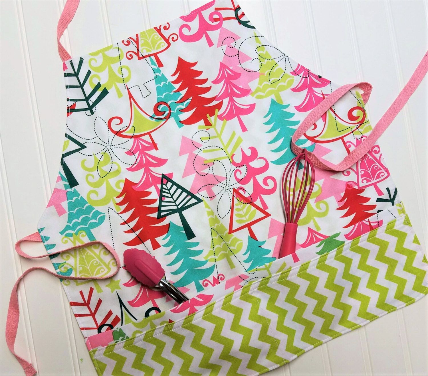 Kids-Aprons-Pink-Lime-Trees-Christmas-Chef-Art-Cooking-Kitchen-Baking-Play-Dough-Garden-Apron-Smocks-Holiday-Birthday-Toddler-Gifts by tanjadlyn on Etsy
