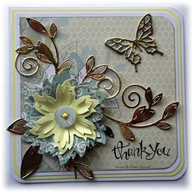 Thank you card, MME wildflower paper, spellbinders Aster and romantic vines dies