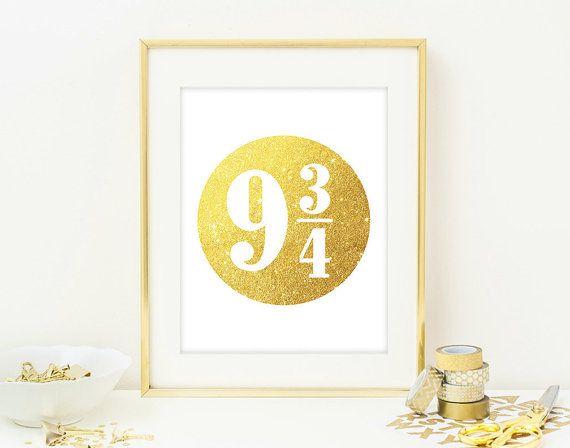 Harry Potter Wall Art Poster - Faux Gold Glitter Wall Art - Bedroom ...