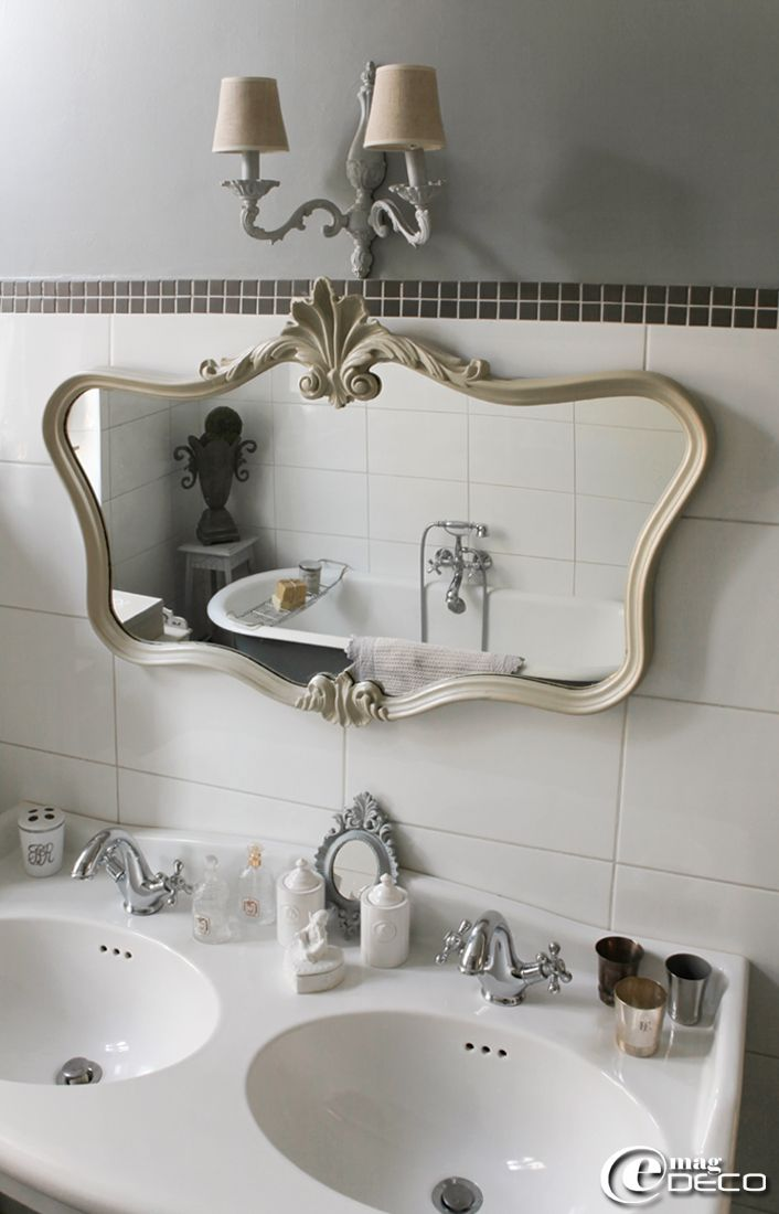 Double vasque sur colonnes 39 leroy merlin 39 miroir de style rocaille patin et une ancienne - Style de salle de bain ...