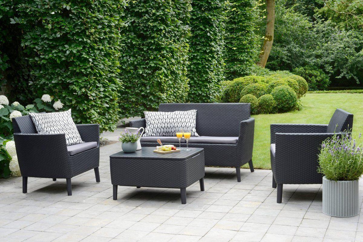 Loungeset Linosa 4 Tlg 2er Sofa 2 Sessel Tisch 76x56 Cm