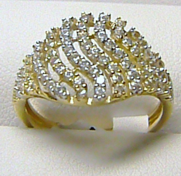 fa9395e16 Zlaté šperky | zlaté prstýnky | Luxusní mohutný velký zlatý prsten posetý  zirkony (35ks)