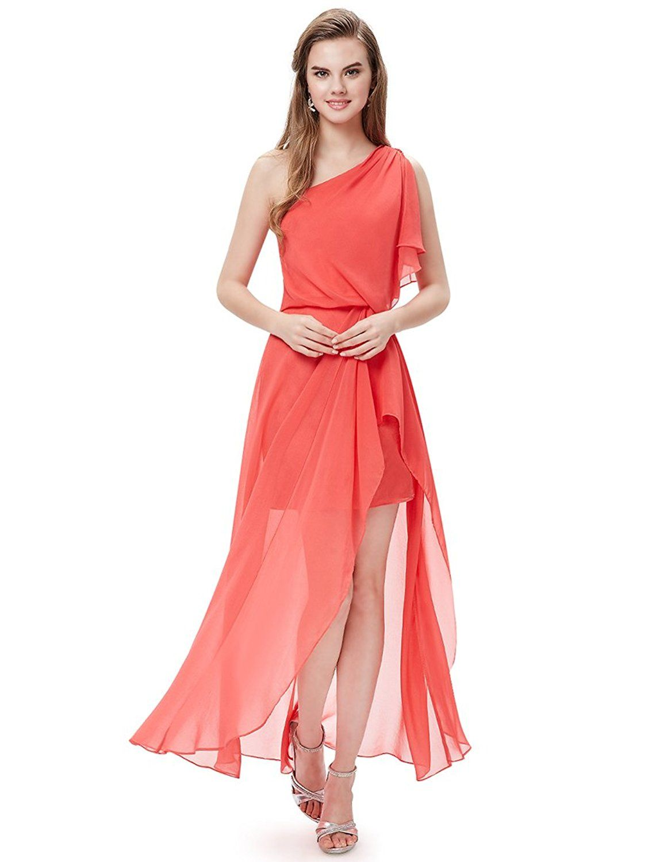 Ever pretty sexy red one shoulder split ruffles long evening dress