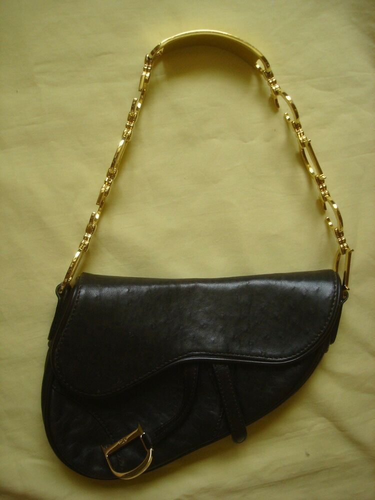 1872f7d9d7e3 CHRISTIAN DIOR Ostrich Leather Gold Saddle Mini Bag Limited Rare Authentic  Mint