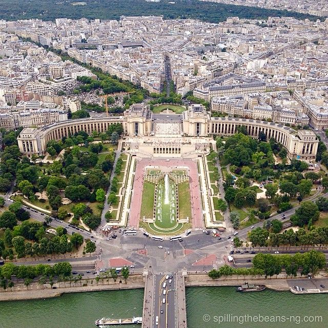 View of the Trocadero from the Eiffel Tower. Photo courtesy of spillingthebeans on Instagram.