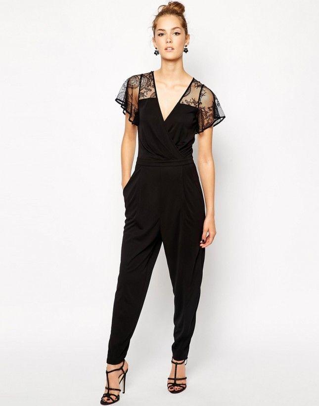 Lace Detail Jumpsuit - Black/black French Connection Discount Pictures AuYWsX