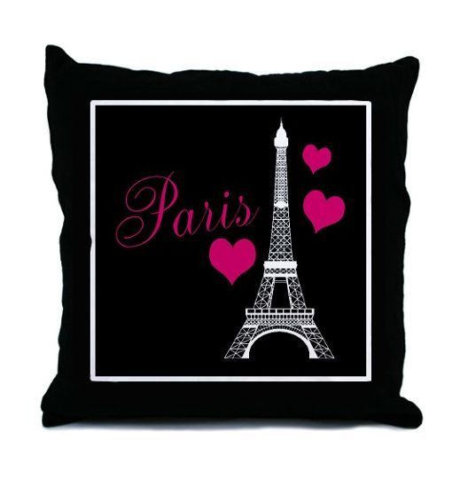 Paris Eiffel Tower Hot Pink Black And White Decorative