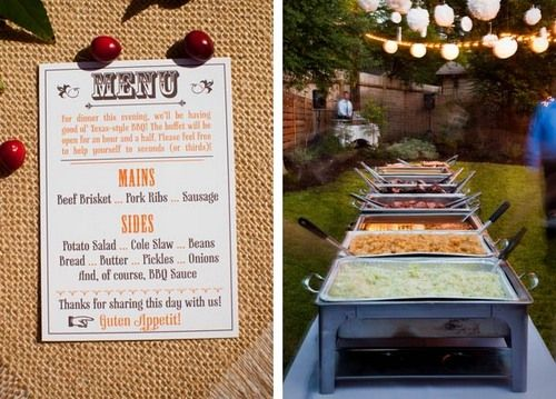 Casual Bbq For Food Maybe Not This Much And Just Pulled Porbackyard Rehearsal Backyard Wedding Receptionswedding Reception Ideaswedding