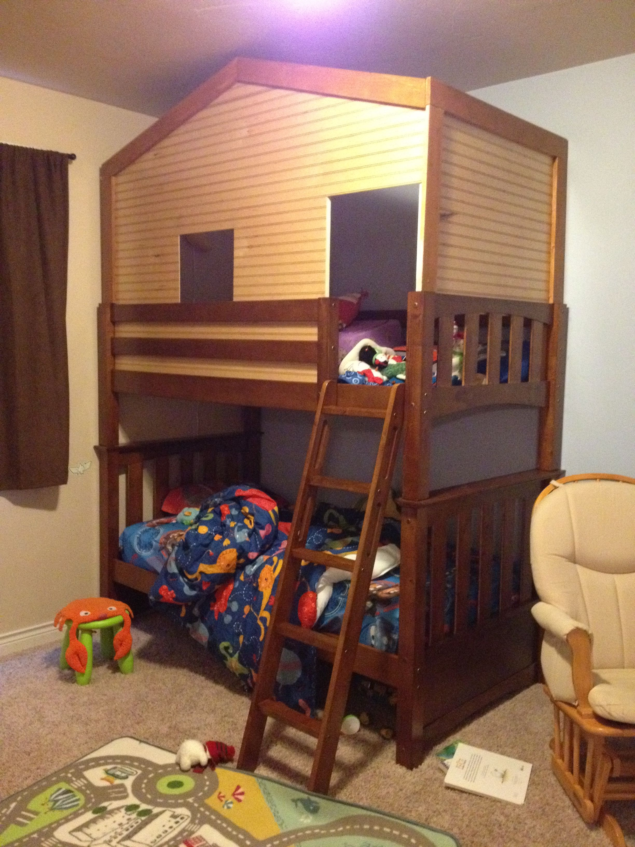 Our New Bunk Bed Fort Bunk Bed Wainscoting And A Little Lumber 9